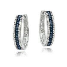 Sterling Silver 1.1ct TDW Treated Blue & White Diamond Hoop Earrings