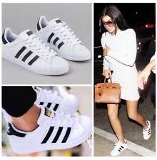 Vintage Women's Adidas White & Black Triple Stripe Superstar Sneakers Size 5