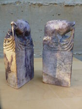 """Superb Carved stone bookends 5 1/2"""" Chinese ca. 1920, old repairs [Y8-W7-A9-E9]"""