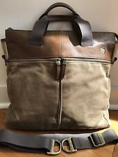 Tumi T-Tech Essential Gear Men's Brown Canvas And Leather Bag W Shoulder Strap