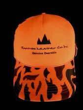 VTG Orange Camo Truckers Hunters Cap Foothills Leather Logo Snapback