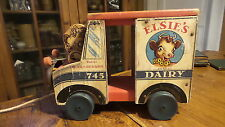 Antique ELSIE'S DAIRY 745 PULL TOY TRUCK Bell Toy, Borden's FISHER PRICE