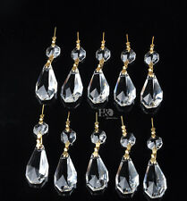 10 Clear Chandelier Crystal Lamp Prisms Parts Hanging Pendant 38mm Gold Buckle