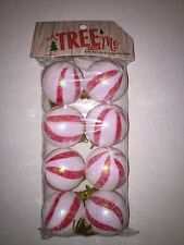 Set of 8 Christmas Mini Peppermint Round Ball Candy Ornaments Red & White