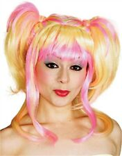 Womens 2-Tone Blonde Pink Hearts Oriental Pigtails Wig