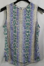WOMENS EQUIPMENT FEMME IVORY BLUE SNAKE PRINT 100% SILK BLOUSE LARGE NWT $168