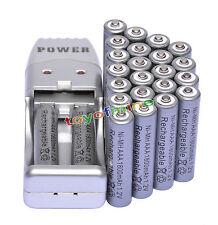 24 batteria ricaricabile NiMH 1800mah1.2V X AAA 3A caricatore Grigio + USB
