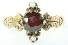 VICTORIAN ANTIQUE 14K ROSE GOLD GARNET PEARL RING SIZE 6.5