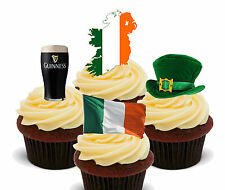 Ireland Fun Pack Edible Stand-up Cup Cake Toppers, Irish Flag Euro Olympics