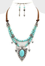 "18"" silver turquoise arrow faux suede choker collar necklace 1.75"" earrings bib"