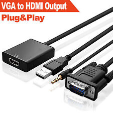 VGA Male To HDMI Converter Output 1080P HD +Audio TV AV HDTV Video Cable Adapter