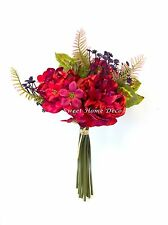 Sweet Home Deco 12'' Silk Peony Geranium Baby's Breath Mixed Flower Bouquet