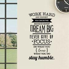 WORK Hard Dream BIG Wall Sticker Art Quote Office Home Decor DIY Vinyl Decals