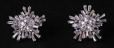 Stardust-clear Cubic Zirconia Snow Feature/chrome Stud Earrings(Cl35)