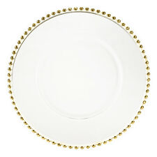 Gold Beaded Glass Charger Plates (Set of 4)
