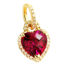 10K YELLOW GOLD PAVE DIAMOND & CREATED RED RUBY HEART PENDANT NECKLACE