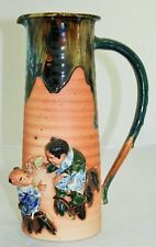 "Sumida Gawa Tankard, Japanese, Large Handle, Marked, Two Children, 12""High"