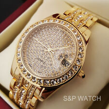 New Luxury Gold Finish Hip Hop Iced Out Lab Diamond Roman Numeral Bracelet Watch