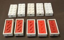 LEGO 10 x Achsstein 2x4 weiß unten rot (7049) | axis brick white