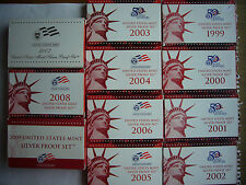 Complete Set of US Silver Proof Sets 1999-2009 Including All Statehood Quarters!