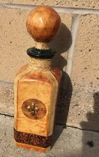 """Vintage 13"""" Leather Covered Italian Glass Liquor Decanter Bottle With Music Box"""