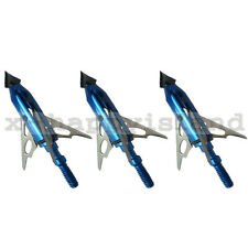 3x Archery Broadhead 100 Grain 3 Blade Rage Chisel Tips Arrow Heads for Crossbow