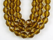 8mm Czech Olive Green Round Faceted Fire Polished Preciosa Glass Beads 25pcs