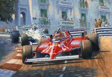 Gilles Villeneuve F1 Ferrari Monaco Grand Prix Motor Sport Racing Car Art Print