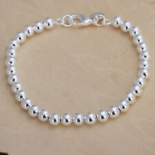 wholesale Sterling solid silver fashion jewelry charms 6mm ball Bracelet SB114