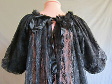 VTG MID CENTURY  SEXY VOLUP SHEER ROBE-HUGE POUF DOUBLE LACE SLEEVES-BLACK/LG/XL