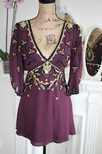 Temperley London Purple Wine Embellished Sequin Bead Silk Blouse 10 Small -80%!