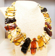 Unique Massive Genuine Baltic Amber Adult Necklace Choker 52 cm Bernsteinkette