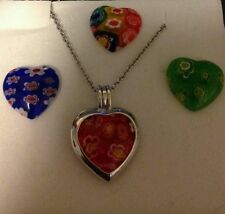 MURANO MILLEFLORI GLASS  HEART SET OF 4 GLASS INSERTS  STERLING SILVER 20 INCH C
