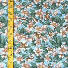 "FABRIC - KONA BAY ""BED N BREAKFAST"" FLORAL BLUE/MULTI 100% COTTON - 1.25 YARDS"