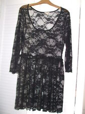 Black Party  Lacy top size S/M  Made in USA Floral 8/10 3/4 sleeve by Lily White