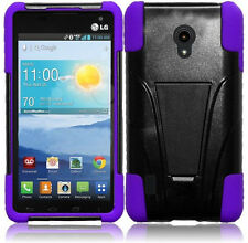 For LG Lucid 2 Advanced HYBRID KICK STAND Rubber Case Phone Cover Black Purple