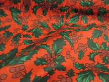 Red with Green & Red Holly Berries, Christmas Printed Polycotton Fabric