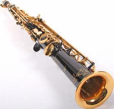 K. Glaser Sopransaxophon, schwarz, gerade Bauweise, 2 S-Bögen, Koffer + Mundstk.