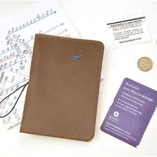 Travel Leather Passport Holder Card Case Protector Cover Wallet Bag Khaki