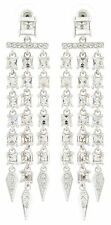 Zest Swarovski Crystal Long Triple Drop Chandelier Pierced Earrings Clear