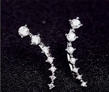 New Four-Prong Setting 7pcs Cz Crystals 18k Gold Plated Ear Hook Stud Earrings