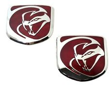 x2 New RED Dodge RAM Viper Striking Snake Hood Emblem - Replaces OEM: 1VN1706SAA