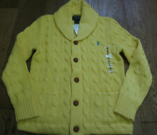 RALPH LAUREN SHAWL COLLAR CABLE KNIT BOYS YELLOW CARDIGAN SZ 8 RP £145