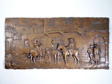 Intricately Hand Tooled Copper Relief Wall Hanging w/ Scene From Middle Ages
