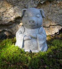 Meditating Pig Statue, Concrete Pig, Buddha Like Pig, Pig Figures Garden Statues