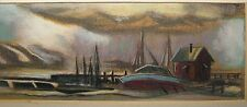 Allan Dudley Jones 1965 Stormy Harbor Tempera Ptg Listed Virginia Artist