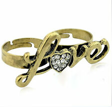 Adjustable vintage retro gold heart love double finger ring