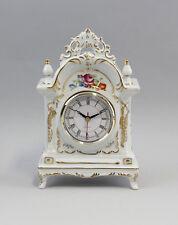 87063 Tisch-Uhr Blumendekor Porzellan