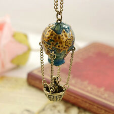 Retro Women Colorful Enamel Glazed Hot air balloon Pendant Necklace