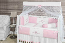 Crown Themed Pink/White Baby Girl 10pcs Nursery Crib Bedding Set Embroidered